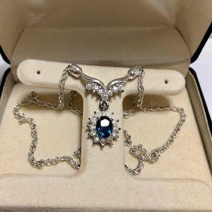 Sapphire Like Necklace with Diamond Like S…